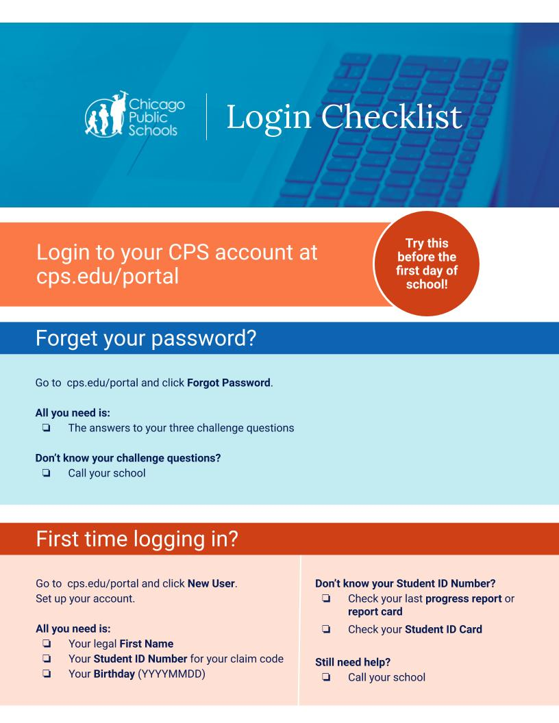 Login Checklist. See the password reset guide link for more information.