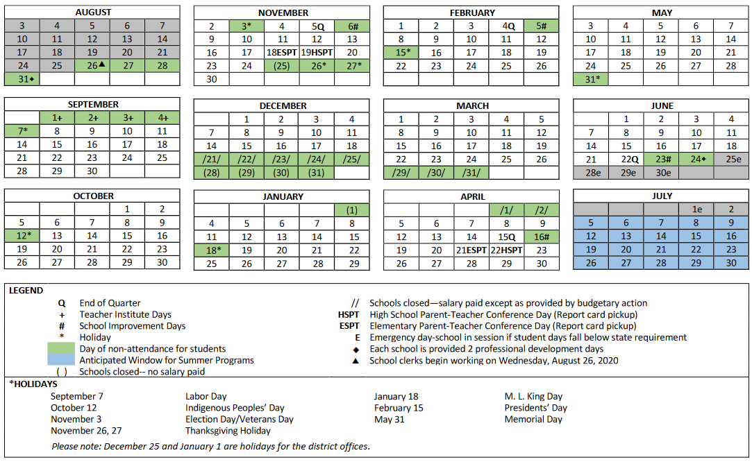 Chicago Public Schools Calendar 2021 Calendar | Chicago Public Schools
