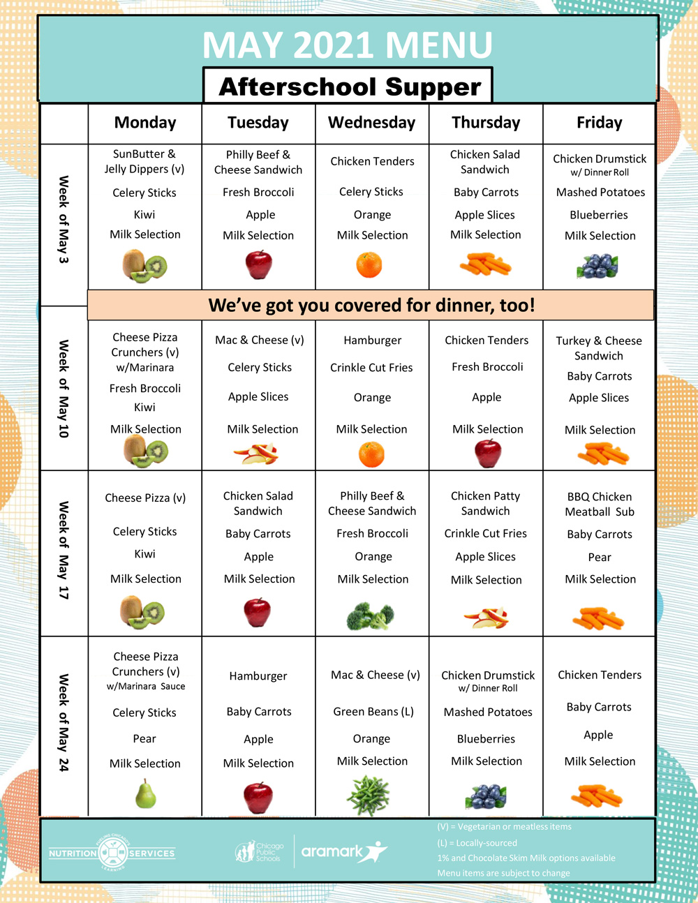May 2021 Meal Distribution Kit Afterschool Supper Menu