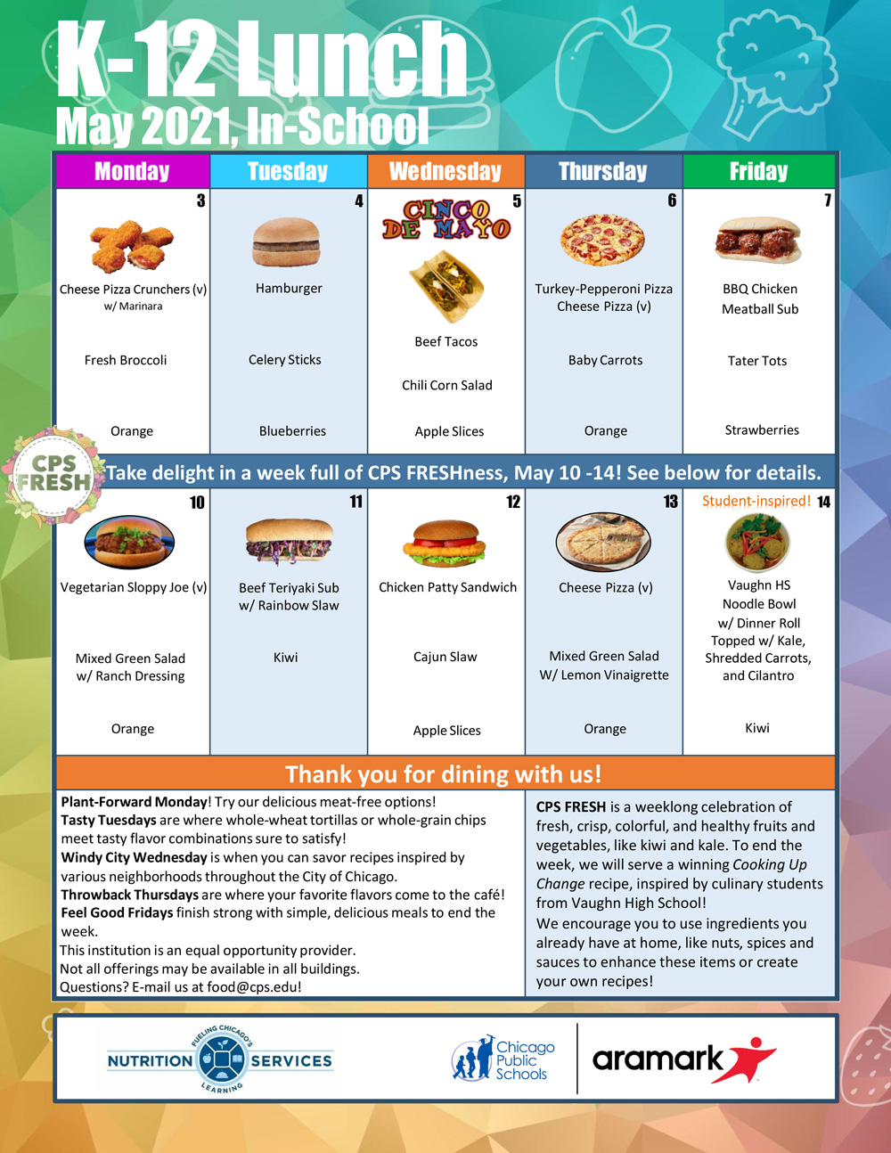 May 2021 Monthly Menu In-Person K-12 Lunch Menu between May 1st and May 15th