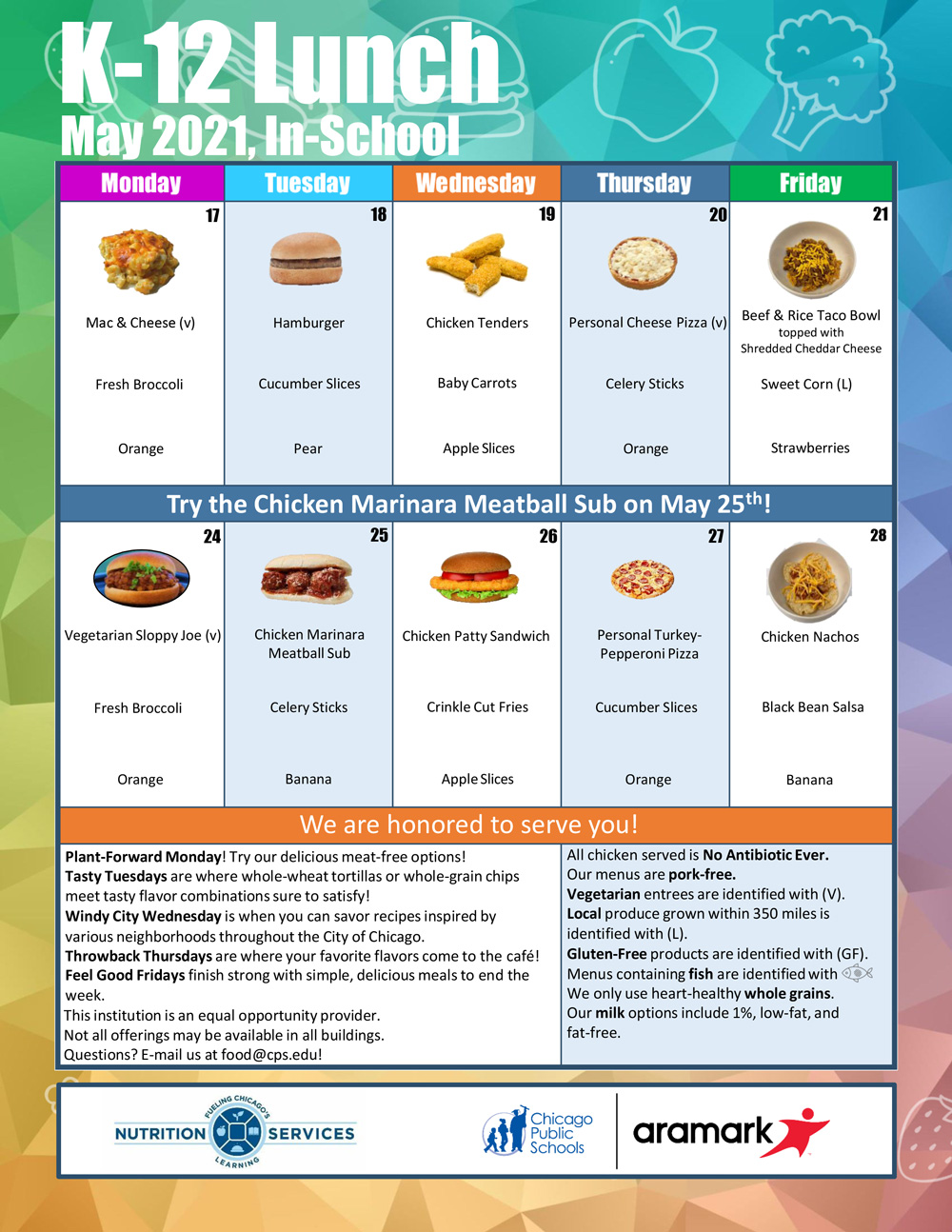 May 2021 Monthly Menu In-Person K-12 Lunch Menu after May 16th