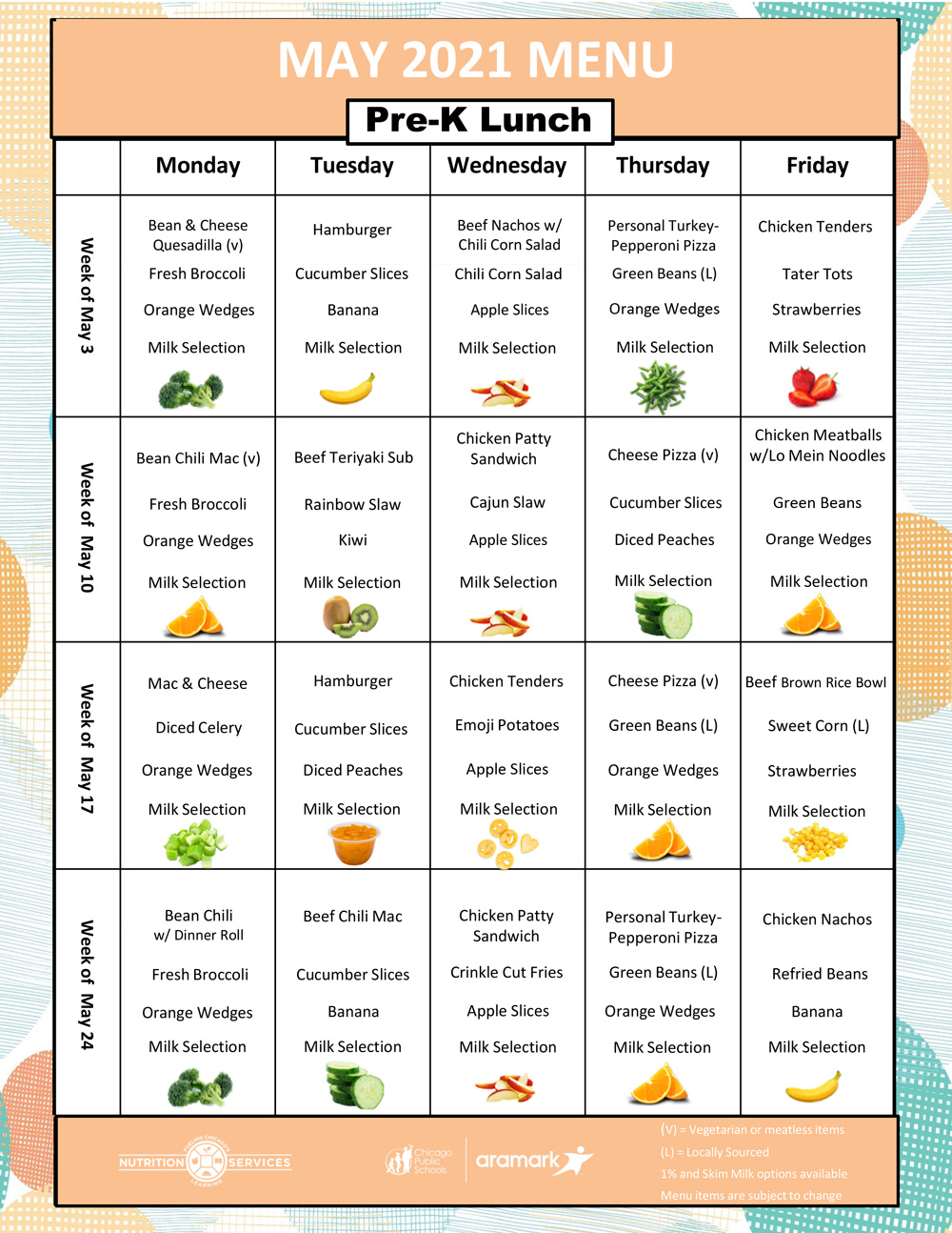 May 2021 Pre-K Lunch Menu