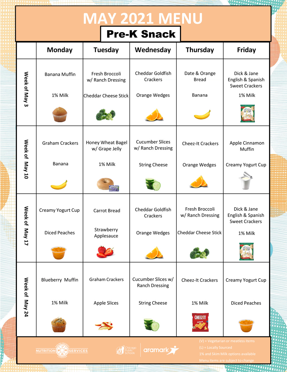 May 2021 Pre-K Snack Menu