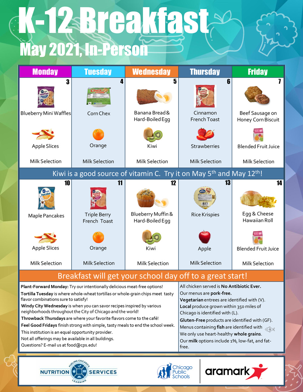 May 2021 SFSP K-12 Breakfast (in-school) between May 1st and May 15th